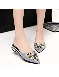Angrousobiu Sandalias de verano zapatos de mujer Pu bordada de lentejuelas de color puro adhesivo de caucho zapatos...
