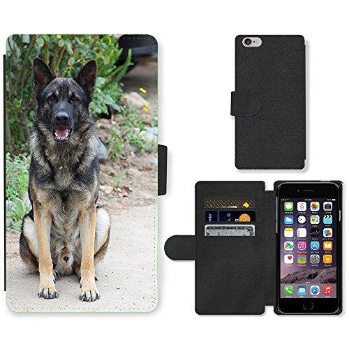 Just Mobile pour Hot Style Téléphone portable étui portefeuille en cuir PU avec fente pour carte//m00140133chien Berger allemand chien chiot//Apple iPhone 6Plus 14cm