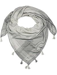 styleBREAKER Foulard rectangulaire bicolore XXL avec bandes métalliques et  glands, écharpe, tissu, femmes dd8561eba5d