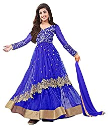Clickedia Women's Net Embroidered Blue & Golden Semi Stitched Anarkali - Dress Material
