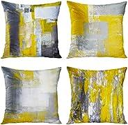 أغطية وسائد رمي بريتيمس ديكور المنزل مجموعة من 4 أكياس وسائد مزخرفة 18 × 18 بوصة أريكة وسادة أريكة أريكة وسادا