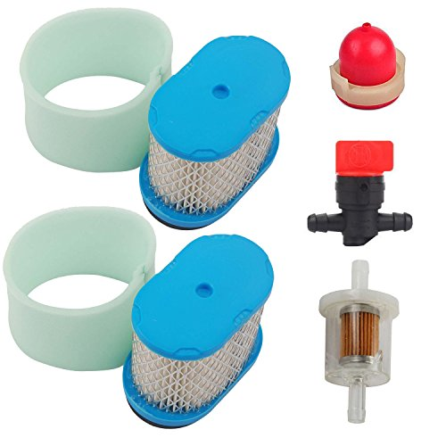 OxoxO 697029 690610 498596 Air Filter 273356 273356S Pre-Filter Fuel Filter Primer Bulb Fuel Line Shut Off Valve for Briggs & Stratton 5059h 4207 Stens 100-093 John Deere M147431 Lawn Mover Tractor -