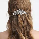 SWEETV Silber Haarkamm Hochzeit Strass Haarspange-Blume Haarkämme Handgemachte Braut Haarschmuck für Braut und Brautjungfer