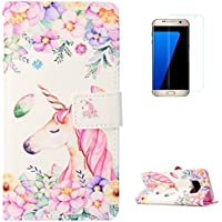 KaseHom Samsung Galaxy S8 + [Protector de Pantalla] Dibujos Animados Estuche Billetera de Cuero Folio con Ranuras para Tarjetas y Cubierta Flip magnética Slim Anti-Arañazos Case - Flores Unicornio