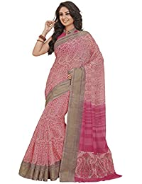 Vipul Pink Linen Printed Saree With Blouse Piece