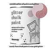 Hemway Candy Floss Kreidefarbe (mit Glitzer) Funkelnd mattes Finish für Wand und Möbel Farbe 1L, Shabby Chic Vintage Kreidig Kristall (25glitzernde Farben erhältlich), rosa