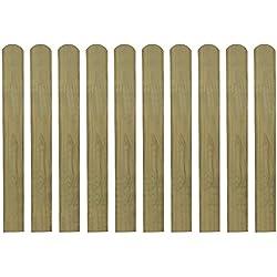 vidaXL listones de madera impregnados para cercado 10 uds 80 cm