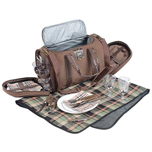 Kühltasche XXL Picknickkorb 4 Personen Picknickdecke 135 x 113 cm + Zubehör Picknickrucksack 4 Personen