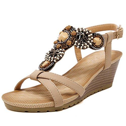 TAOFFEN Damen B?hmen T-Spange Keilabsatz Mid Heel Slingback Sandals mit Beads Aprikose