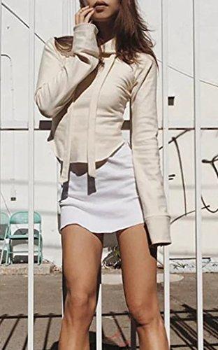 Smile YKK Mit Kapuze-Langärmelig Damen Mädchen Sweatershirt Oberteil Tops T-Shirt Pullover Beige