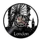 Décorations murales London Big Ben Ferris Wheel Décoration Murale London Bridge Angleterre Cityscape Travel Gift Cadeau La Grande-Bretagne Vinyle Horloges Idéal pour n'importe Quelle pièce
