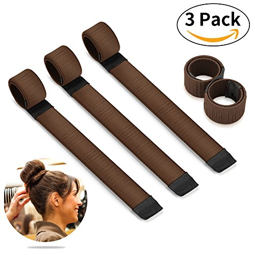 Bestidy 3PCS Perruque de cheveux Bun Disk Maker Donut Hair Piece Bob Maker Outil cheveux Brown
