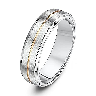 Theia 9ct White Gold and Rose Gold centre inlay Court Shape Matt Centre 6mm Wedding Ring