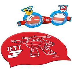 Super Wings - Gorro & gafas natación infantil (ColorBaby 77018)