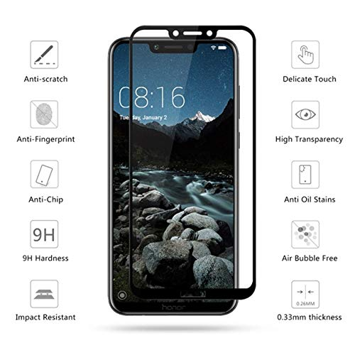 Blaspheme™ Tempered Glass Protector 6D – Full HD, 9H Shatterproof, Anti Scratch Screen Guard for Huawei Honor Play (Black)