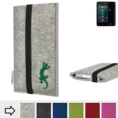 flat.design Handy Hülle Coimbra für Allview P42 handgefertigte Handytasche Filz Tasche Case fair Gecko
