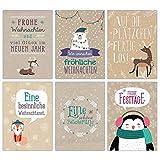 Papierdrachen Weihnachtskarten Set Packpapier - 12 liebevoll gestaltete Postkarten zu Weihnachten - Grußkarten Set Weihnachtspostkartenset