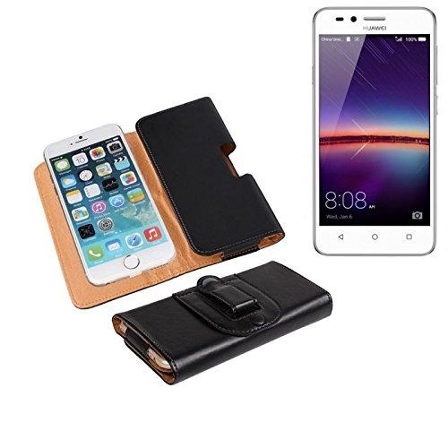 K-S-Trade® Für Huawei Y3 II Dual-SIM Gürteltasche Gürtel Tasche Schutzhülle Handy Tasche Schutz Hülle Smartphone Case Handytasche Seitentasche Quertasche Belt Bag Etui Schwarz Für