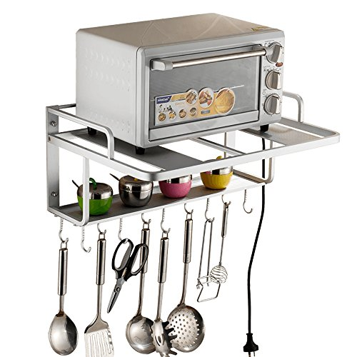 Mizii Edelstahl-Mikrowellen-Ofen-Regal, kommt mit 10 Edelstahl-Haken, mit Belastung 70 Kg (Silber) (Mikrowelle-schrank Montiert)