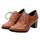 Tatis Shoes Einfarbiger PU-Leder-Rundkopfhohl mit dicken Schuhen mit hohem Absatz Mode Frauen Hohl Schuhe Flach Mund Einzelne Schuhe Starke Ferse Schuhe Mode britischen Retro-Stil