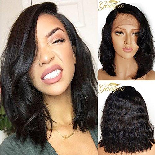 Googoo Perruque Cheveux Humain Noir Perruque Avant en Dentelle 130% Densité Bob Perruque Femme Cheveux Humain Perruque Bresilienne Naturelle Ondulé 10 Pouces