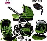 Chilly Kids Dino Kinderwagen Safety-Mega-Set (Winterfußsack, Sonnenschirm, Autositz & ISOFIX Basis,...