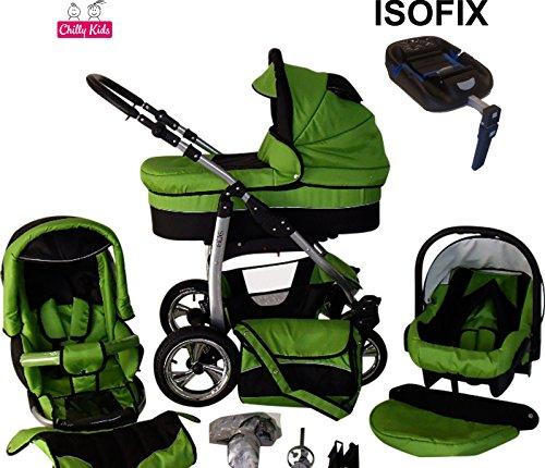 Chilly Kids Dino Kinderwagen Safety-Mega-Set (Winterfußsack, Sonnenschirm, Autositz & ISOFIX Basis, Regenschutz, Moskitonetz, Schwenkräder) 22 Grün & Schwarz