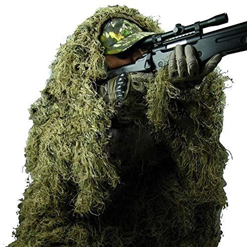 XYLUCKY Trajes Camo Ghillie Trajes 3D Camuflaje Woodland Ropa ejército Militar de Francotirador Ropa Pantalones Selva Caza, Tiro, Airsoft, fotografía de Vida Silvestre, Halloween