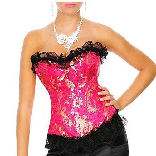 Damen Spitze Korsett Dessous Party Floral Korsett Corsage Übergrößen (EUR(36-38)L, Pink) (Pink Lace Up Korsett)