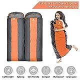 GEERTOP® Saco de Dormir Envolvente Acoplable 3 Temporadas 5℃ à 20℃ - 220 x 85 cm - para Acampada Senderismo y Viajes (Naranja, Grande)