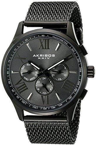 Akribos XXIV Hommes de Montre à Quartz avec Gris Cadran Affichage Analogique et Bracelet en Acier Inoxydable Noir ak844bk