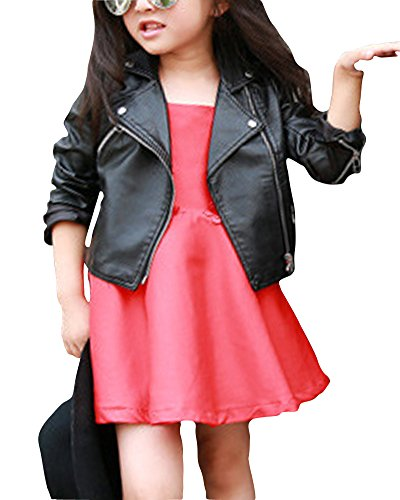 Kinder Mädchen Lederjacke Cool und Vintage Jacke Faux Leather Mantel Motorradjacke Schwarz 110