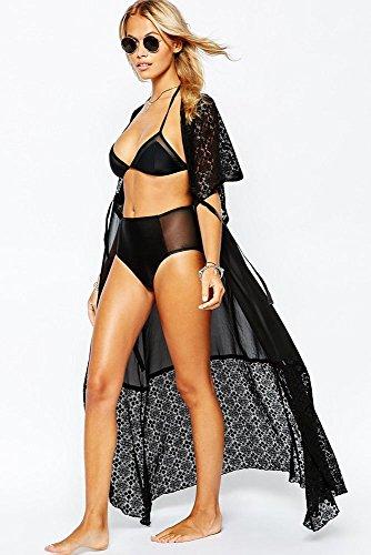 Ladies Sexy Summer Dentelle Mousseline de soie Patchwork Longue Plage Kimono (Taille unique, Noir) Noir