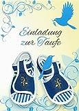 Einladungskarten Taufe Junge mit Innentext Motiv blaue Schuhe 18 Klappkarten DIN A6 mit weißen Umschlägen im Set Taufekarte mit Kuvert Einladung Taufe Junge blau (K28)