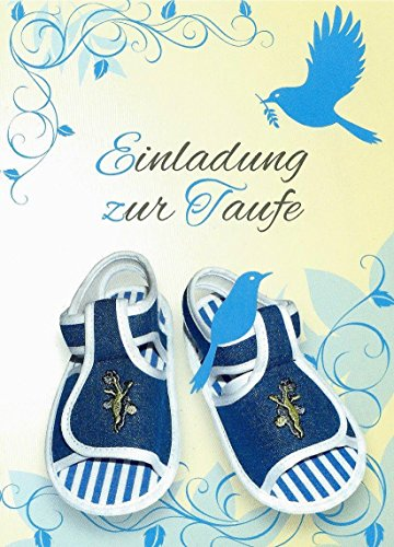 Einladungskarten Taufe Junge mit Innentext und Umschlägen Motiv Jungen blaue Schuhe (15 Karten) Einladung Taufe Junge (K28)