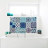 15 Stickers adhésifs carrelages   Sticker Autocollant Carrelage - Mosaïque carrelage mural salle de bain et cuisine   Carrelage adhésif - azulejos bleus  - 10 x 10 cm - 15pièces