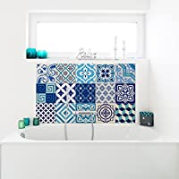 Ambiance-Live 15Stickers Adhesivos carrelages | adhesivo adhesivo azulejos–Mosaico Azulejos de pared de baño y cocina | azulejos adhesiva–Azulejos azules–10x 10cm–15pièces