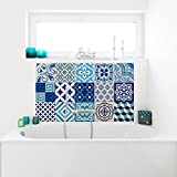 Ambiance-Live 15Aufkleber Fliesen | Sticker Selbstklebend Fliesen–Mosaik Fliesen Wandtattoo Badezimmer und Küche | Fliesen Kleber–AZULEJOS, blauen–10x 10cm–15pièces