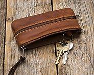 Brown Leather Keys Holder, Keychain Key Case Wallet Bag Zipper Pouch