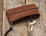 Braunes Leder Schlüssel Halter, Schlüsselanhänger Schlüsseletui Brieftasche, Tasche, Mäppchen