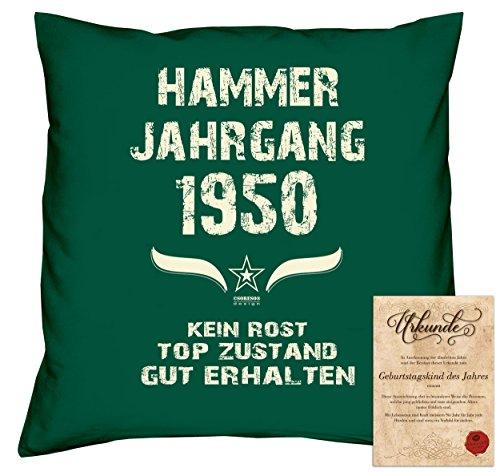 tag Deko-Kissen Sofakissen Dekokissen Jahreszahl Aufdruck Hammer Jahrgang 1950 :-: Größe: 40x40cm und Urkunde Farbe: dunkelgrün (1950 Deko-ideen)