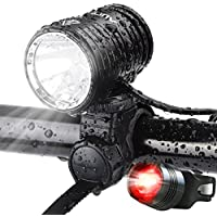 AUOPRO LED Bike Light Set, 1200 Lumens Cycling Headlight USB Rechargeable and Safety Back Taillight, CREE Bicycle Lights Front and Rear, Cycle Flashlight for Mountain Road Kids City Bikes