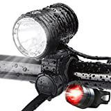 AUOPRO USB Rechargeable Bike Light Set, 1200 Lumens LED Headlight, Front Light