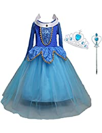 LiUiMiY Disfraces Niña Princesa Vestido de Manga Larga Carnaval Tul Tiara Cosplay Wedding Party Vestido de Carnaval de Cumpleaños para Niñas (98/104(Etiqueta 100),2-3años,busto48cm, Azul)