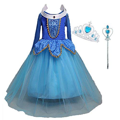 LiUiMiY Prinzessin Glanz Kleid Mädchen Kostüm/Cosplay Kinder Verkleidung für Fest Karneval Weihnachten Halloween Geburtstag Party, Rosa Blau (98/104 (Etikett 100), 2-3 Jahre, Blau)