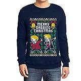 Weihnachtspulli Merry Dabbing Christmas - Trump und Merkel Tanzend Sweatshirt Small Marineblau