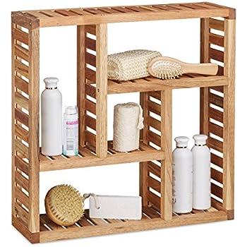 relaxdays bad spiegelschrank 2 t rig wandschrank aus bambus vormontierter badschrank hxbxt 50. Black Bedroom Furniture Sets. Home Design Ideas