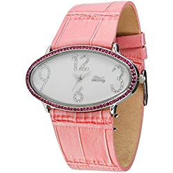 Moog Paris - Egg, ladies watch with White dial, Pink strap - made in France - M44142-101