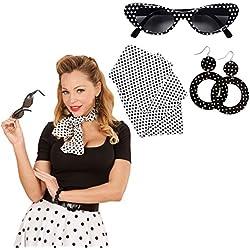 Set disfraz rockabilly con gafas de sol, pendientes y pañuelo para el cuello Traje años 50 60 Outfit rock and rock Accesorio disfraz sesentero Complemento ropa mujer