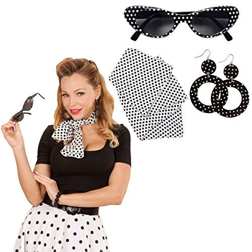 Rockabilly Kostüm Set mit Sonnenbrille, Ohrringe und Halstuch 50er 60er Jahre Bekleidung Rock n Roll Outfit Sixties Damenkostüm Accessoire Damen Kleidung Zubehör